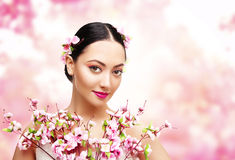 Woman Beauty Pink Flowers, Asian Fashion Model Girl royalty free stock photos