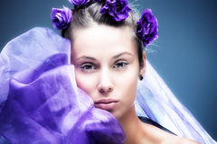 Woman beauty portrait with flowers in hair Royalty Free Stock Photography