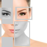 Woman Beauty Portrait and Geometric Shapes On Face Royalty Free Stock Image