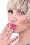 Woman beauty portrait with manicured nails Royalty Free Stock Photo