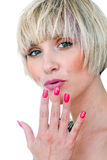 Woman beauty portrait with manicured nails Royalty Free Stock Image