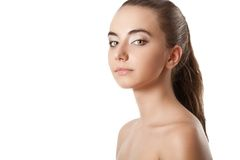 Woman beauty portrait over white Royalty Free Stock Photos