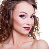 Woman beauty portrait on white background Royalty Free Stock Photos