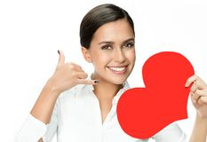 Woman beauty with red heart valentine`s love royalty free stock photos