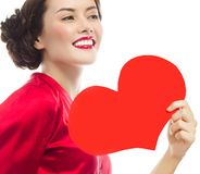 Woman beauty red heart valentine`s love stock photos