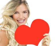 Woman beauty red heart valentine`s love royalty free stock photography