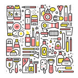 Woman beauty salon collage. Tools and cosmetics. Woman beauty salon collage. Tools, supplies, cosmetics and equipment for hairdo, makeup, shaving and manicure stock illustration
