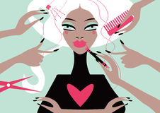 Woman in a beauty salon. Conceptual illustration magazine cover Stock Images