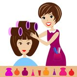 Woman in a beauty salon does a hair-do Royalty Free Stock Photography