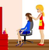 Woman in a beauty salon does a hair-do Royalty Free Stock Photo