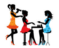 Woman in a beauty salon. With a Manicurist and hairdresser royalty free illustration