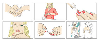 Woman and beauty storyboards. Nail polish, skin care royalty free illustration
