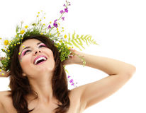 Woman beauty with summer flowers Royalty Free Stock Photo