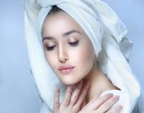 Woman beauty towel tube stock photo