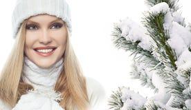 Woman beauty winter portrait stock photo
