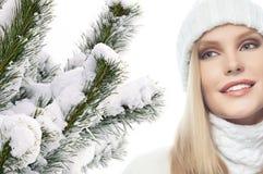 Woman beauty winter portrait stock photography