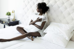 Woman on the bed Stock Photography