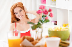 Woman in bed with breakfast Royalty Free Stock Images