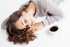 Woman in bed with coffee Royalty Free Stock Image