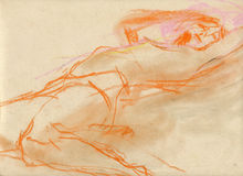 Woman on the bed - drawing. Hand drawing picture with woman´s figure Stock Photo