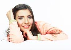 Woman bed portrait. Stock Photo