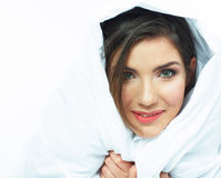 Woman bed portrait. Royalty Free Stock Photography