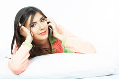 Woman bed portrait. Royalty Free Stock Photo