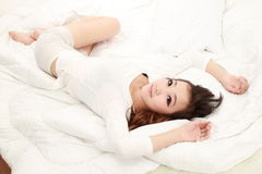 Woman in bed sleeping Royalty Free Stock Images