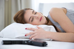 Woman in bed sleeping on the bed Stock Photo