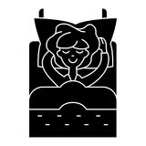 Woman in bed sleeping  icon, vector illustration, sign on isolated background Stock Photo
