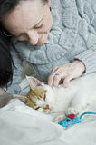 Woman on bed with sleepy cat and mouse Stock Photography
