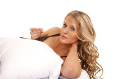 Woman bed white pillow lay come here Stock Image