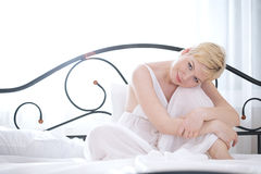 Woman in bedroom Royalty Free Stock Photos