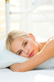 Woman at bedroom royalty free stock photos