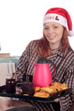 Woman bedroom breakfast Xmas Stock Photography