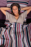 Woman bedroom music Royalty Free Stock Photography