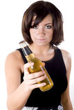 Woman with Beer 1 Royalty Free Stock Images
