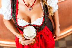 Woman with beer glass in brewery Stock Images