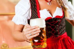 Woman with beer glass in brewery Royalty Free Stock Images