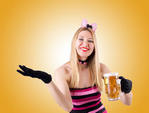 Woman with beer isolated on white Stock Images