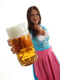 Woman with beer mug Royalty Free Stock Photos