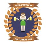 Woman with Beer Pints Oktoberfest Festival Round Banner vector illustration