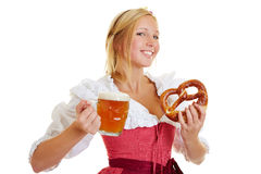 Woman with beer and pretzel Royalty Free Stock Image