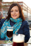 Woman with beer Royalty Free Stock Images