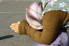Woman beggar. On the road of Rome royalty free stock images