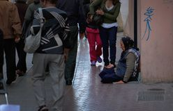 Free Woman Begging On A Commercial Street In Mallorca Stock Image - 111606631