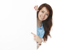 Woman Behind Blank Wall Stock Photos