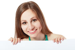 Woman behind board stock photography