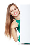 Woman behind board stock images