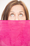 Woman behind cloth upward view Royalty Free Stock Images